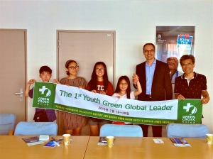 Adam Koniuszewski with Korean Delegation including 11 year old Sky who was selected amongst 100,000 participants as a finalist for her green tips.